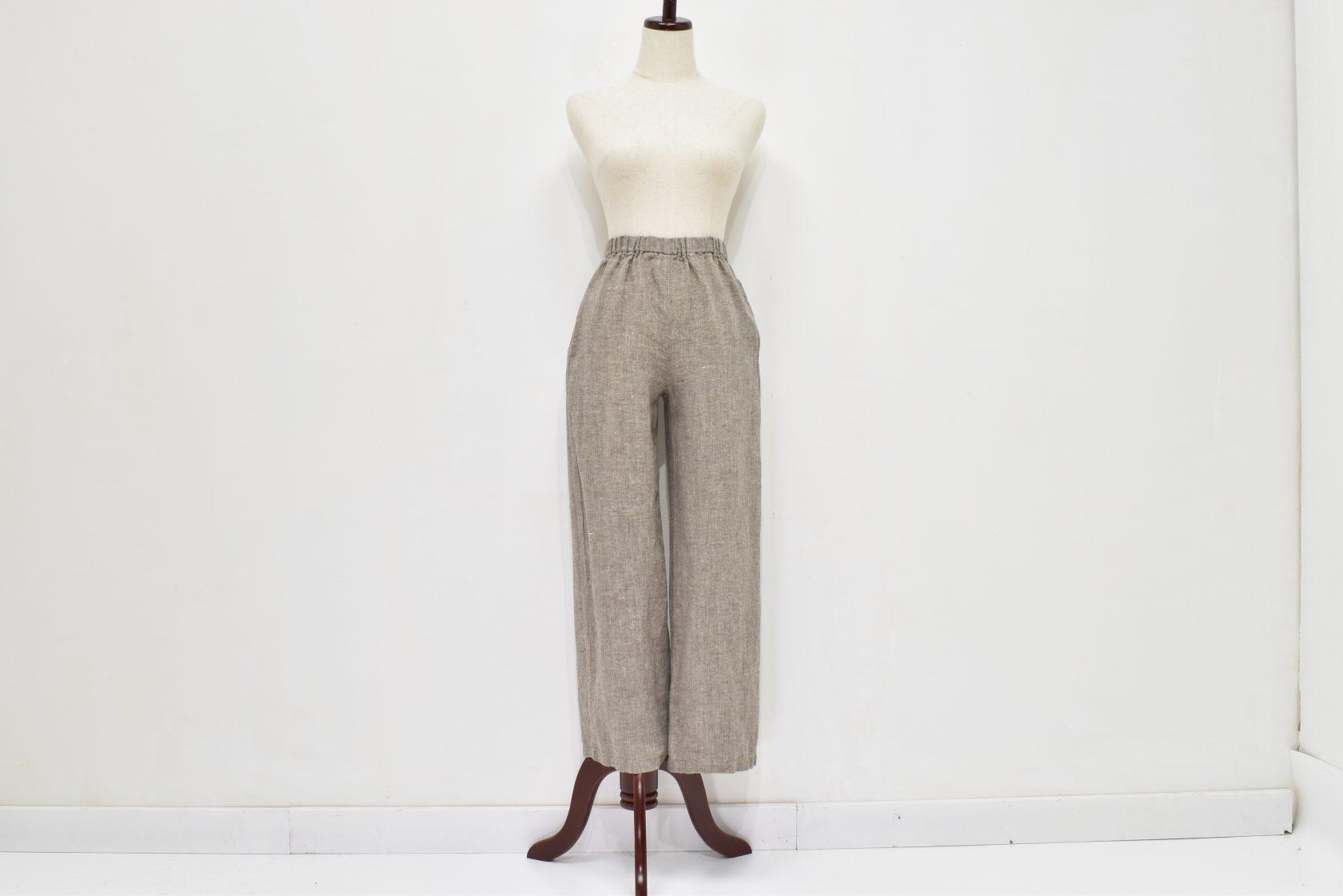 ファブリックスのリトアニアリネンワイドパンツ(ざっくりした太糸織 やや厚手)