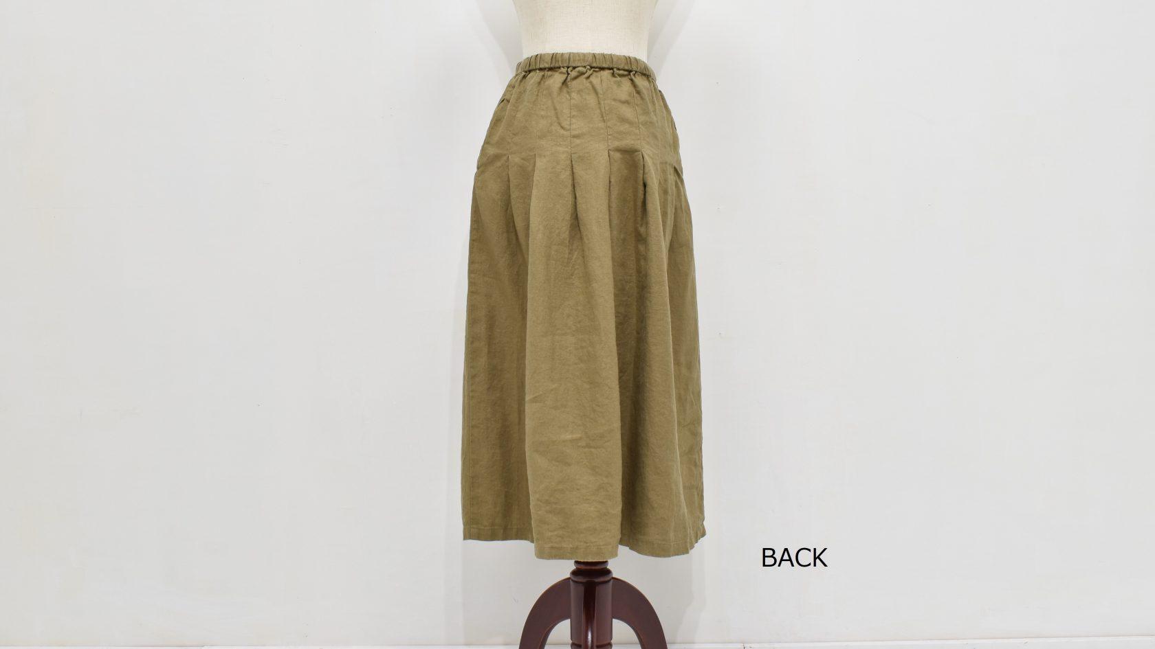 ファブリックスのリネン ボックスプリーツスカート