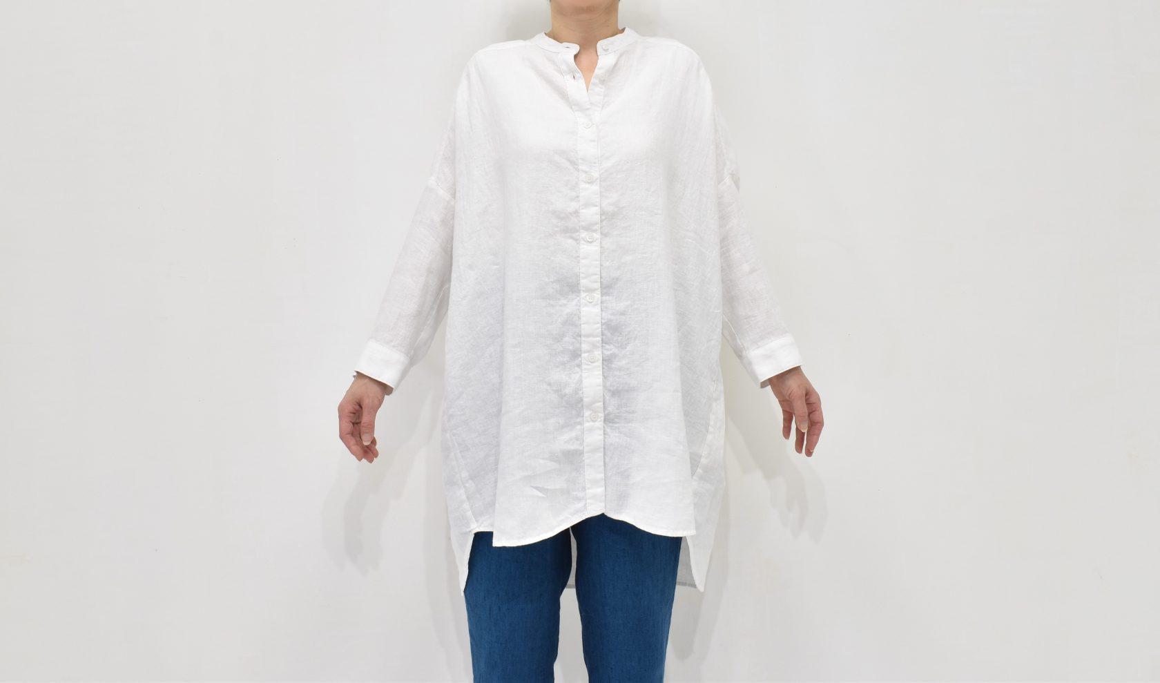 ファブリックスのリトアニアリネン100% ドロップショルダー スタンドカラーシャツ